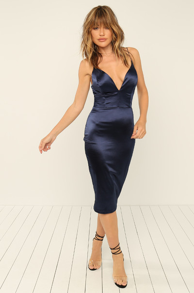 Nothing Like Me Dress - Navy Satin