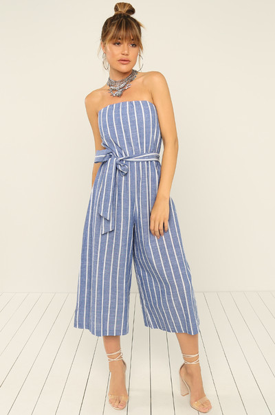 Down The Line Jumpsuit - Striped