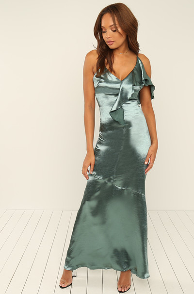 After Hours Dress - Emerald Satin