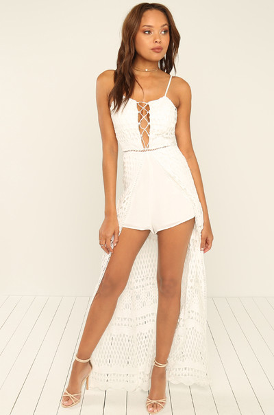 Got Your Attention Romper - White