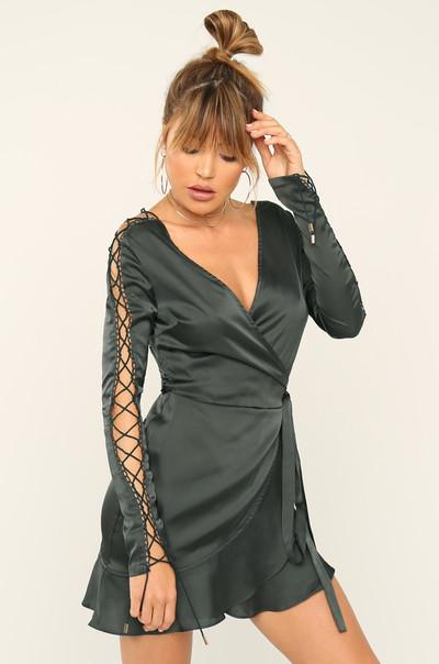 Tie Me Down Dress - Black Satin