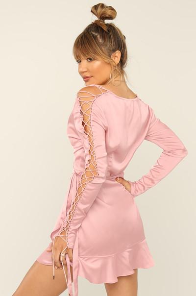 Tie Me Down Dress - Blush Satin