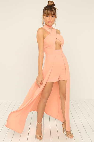 Drop It Low Romper - Peach