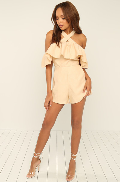 Get Your Frills Romper - Nude