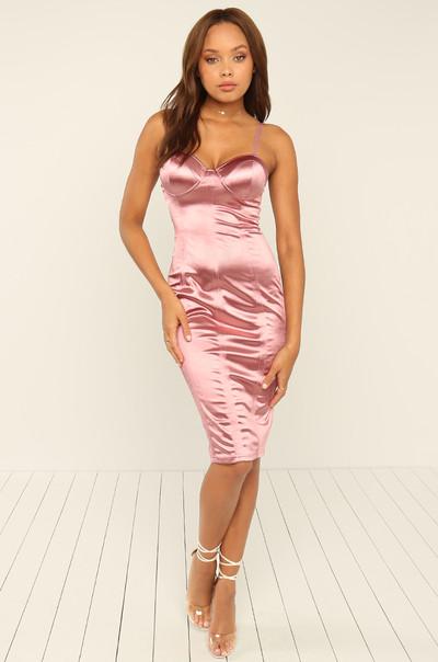 Public Affair Dress - Blush Satin