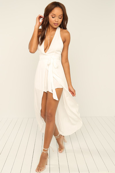 Exposed Romper - White