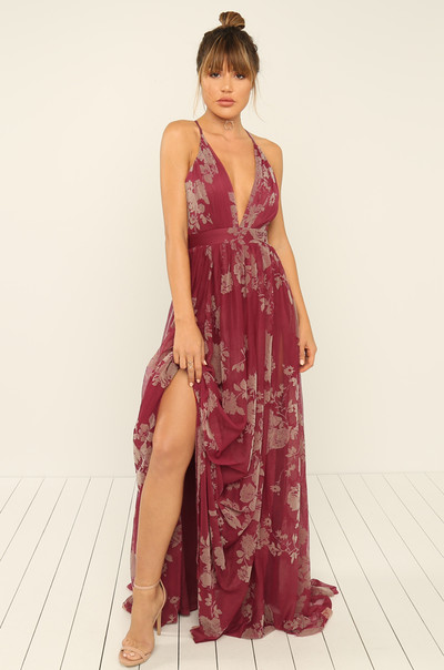 At Sundown Dress - Wine