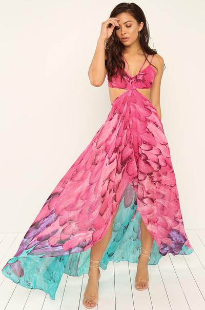 Fly Me Out Dress - Fuchsia
