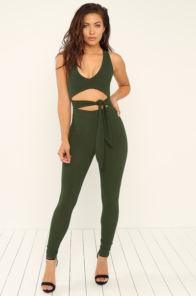 Knot Over It Jumpsuit - Olive