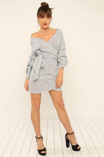 Vacay Fling Dress - Black Stripes