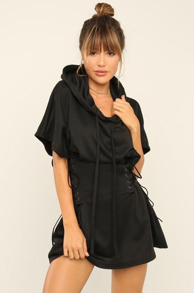 Got Me Twisted Dress - Black