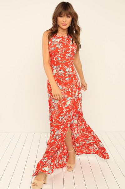 Split Second Dress - Red