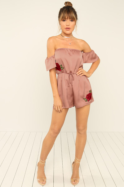 Watch Me Now Romper - Rose Satin