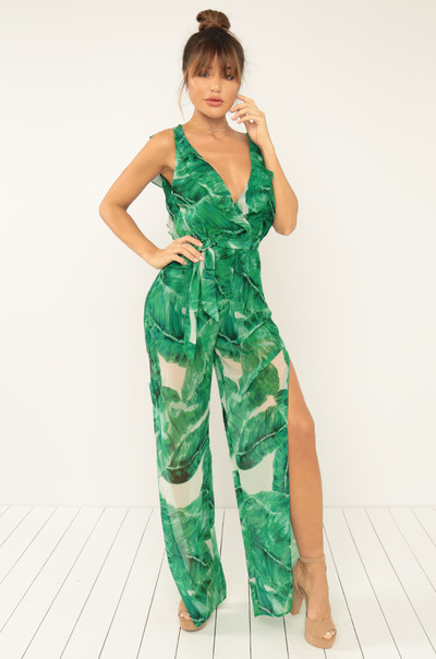 Vacay Nights Jumpsuit - Green