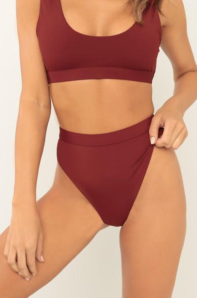 New Wave Bikini Bottom - Wine