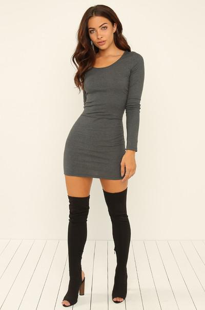 Take A Spin Dress - Dark Grey