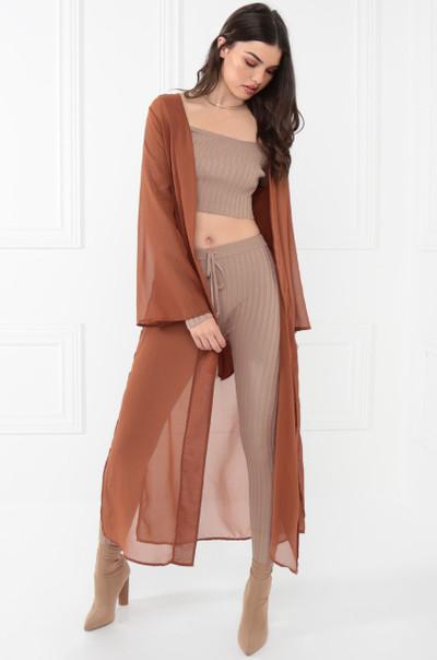 Sheer Bliss Kimono - Rust
