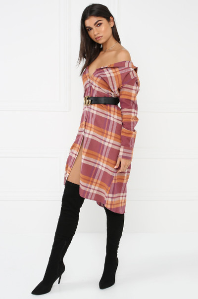 Femme Flannel Dress Top - Mauve