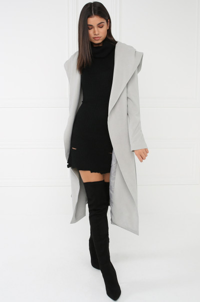 High Society Hooded Trench - Grey