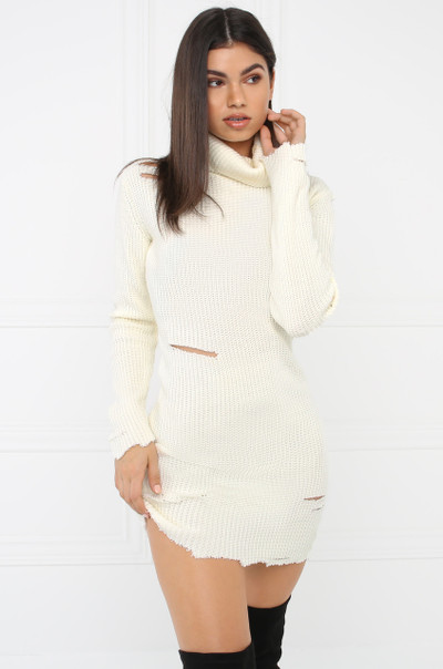 Sneak-A-Peek Sweater Dress - Ivory