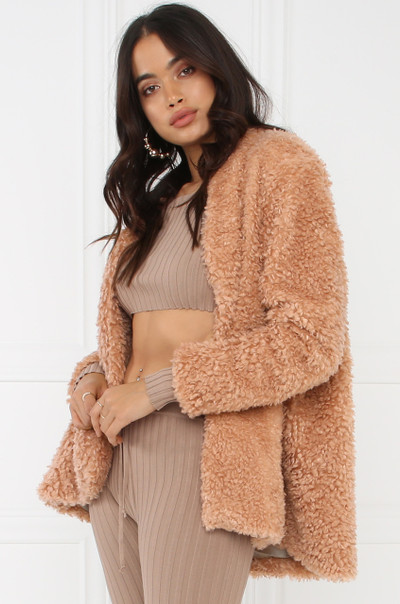 Hot Faux Fur Coat - Mauve