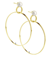Lauren Chisholm fine art jewelry.   Double Hoop Pearl Earring, 14k yellow gold, 18k gold detail,  Akoya pearl