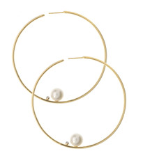 Lauren Chisholm Designer jewelry, Large Hoop Earring with Pearl, 14k solid gold, pearl, 18k gold signature ball