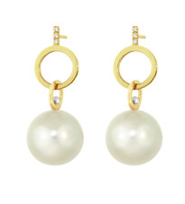 Lauren Chisholm Diamond Pave Pink White Dangle Earrings.  14k yellow gold, 18k gold ball detail, freshwater pearls