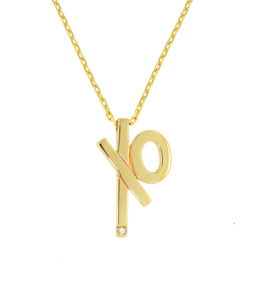 """XO Diamond Charm Necklace solid 14k gold, 18k signature gold ball detail.  Adjustable chain length, 16"""" 18"""" Designer jewelry"""