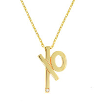 "XO Diamond Charm Necklace solid 14k gold, 18k signature gold ball detail.  Adjustable chain length, 16"" 18"" Designer jewelry"