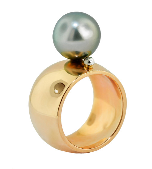 The Mod Ring by jewelry designer Lauren Chisholm 14k rose gold, 11mm Tahitian pearl, 18k signature detail