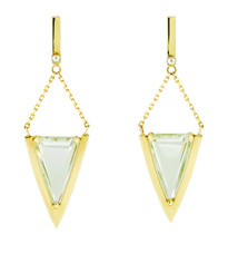 V  Prasiolite Dangle post earrings.  Solid 14k, 18k gold ball detail.