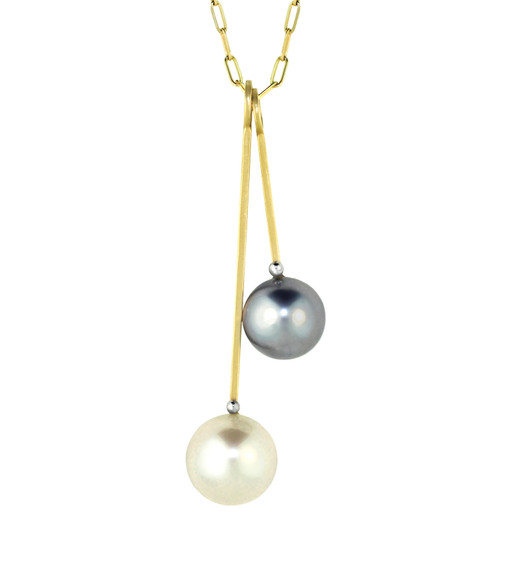 "Lauren Chisholm fine art jewelry.  Double Stack Charm Necklace featuring an Australian South Sea Pearl paired with a Tahitian Pearl Charm   Chain length is 18""  .  Each charm can be purchased individually, contact us for inquiries"