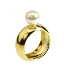 Designer jewelry Mini Mod Ring, 14k yellow solid gold,  18k white gold ball detail, 8mm freshwater pearl.  Modern chic rings by Lauren Chisholm