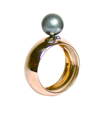 Lauren Chisholm designer jewelry Mini Mod Ring 14k rose gold, grey freshwater pearl