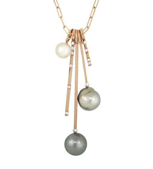 Lauren Chisholm fine art jewelry.  Multi Stack Charm Necklace featuring five individual charms to include Tahitian Pearls, VS GH Diamonds and a Freshwater Pearl.  Solid 14k rose gold, with designer's signature 18k gold ball detail