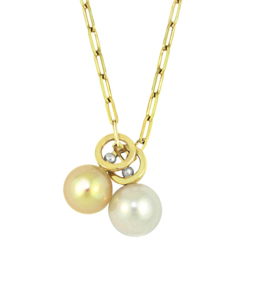Lauren Chisholm designer jewelry, Golden South Sea Pearl Charm, Freshwater Pearl Charm, 14k gold charm with designer's 18k signature gold ball detail