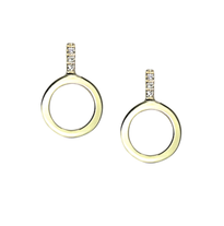 Lauren Chisholm Circle Diamond Earrings 14k yellow gold with 18k signature detail, designer jewelry. 6 hand set diamonds