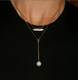 Layered 14k gold necklaces, Lauren Chisholm designer jewelry, pearl drop and diamond high line necklaces
