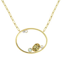 Lauren Chisholm fine art jewelry.  Gem Diamond Oval Necklace featuring a Zircon, an Aquamarine and Diamonds set in 14k gold with signature 18k gold ball detail