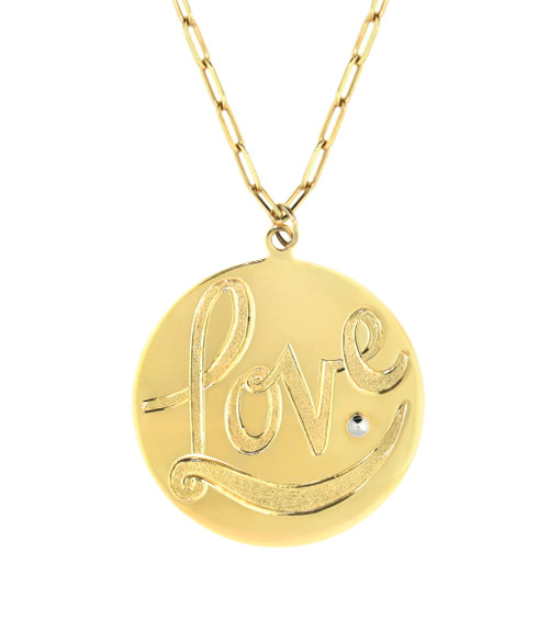 "Hand engraved LOVE Necklace.  solid 14k gold, 18k designer detail 18"" chain length"