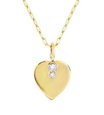 Lauren Chisholm fine art jewelry.  Diamond Heart Necklace.  Solid 14k gold, hand set VS GH diamonds, 18k gold ball- designer's detail.  Chain length is 18""