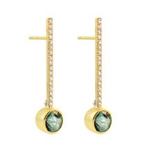Lauren Chisholm designer jewelry Diamond Gem Drop Earrings, 14k gold, Diamonds, 18k gold designer's detail, unique deep rose cut Prasiolite