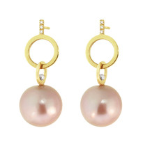 Lauren Chisholm Diamond Pave Pink Pearl Dangle Earrings, featuring hand set pave diamonds and natural color Pink Freshwater Pearls.   Solid 14k gold hallmarked with Lauren's signature detail- a contrasting 18K gold ball
