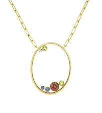 Lauren Chisholm fine art jewelry.  Gem Oval Necklace features, a Zircon, Peridots, and Sapphires handset in solid 14k gold, with designer's signature 18k gold ball detail.