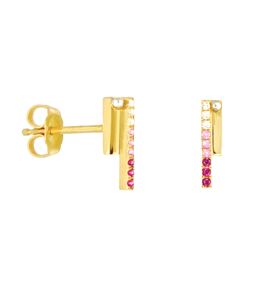 Lauren Chisholm High Line Studs -Pink Ombre- pink sapphires, diamonds, 14k gold, 18k gold detail