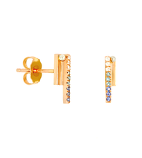 Lauren Chisholm high line stud earrings, 14k rose gold, 18k detail, blue sapphires, light aqua diamonds, white diamonds