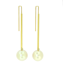 Lauren Chisholm pearl drop earrings 14k, 18k signature detail 13-14mm freshwater pearls