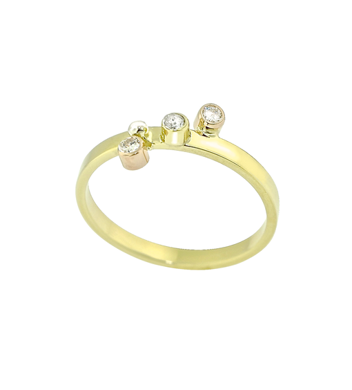 Lauren Chisholm Diamond Stack Rings 14k yellow gold band, 18k signature detail, .09ct diamonds.  Designer Jewelry