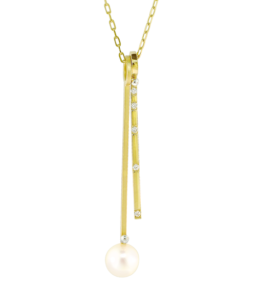 "Lauren Chisholm unique brushed pearl drop & high polished diamond drop charm necklace, 14k, 18k detail, 9mm freshwater pearl, diamond .075 carats   Chain offers 16""-17""-18"" adjustment"